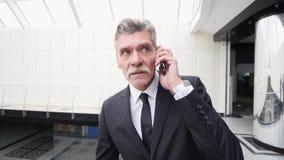 Επιχειρηματίας που μιλά στο τηλέφωνο στην οικοδόμηση του διαδρόμου Στοκ φωτογραφία με δικαίωμα ελεύθερης χρήσης