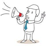 Επιχειρηματίας που μιλά μέσω megaphone Στοκ εικόνα με δικαίωμα ελεύθερης χρήσης