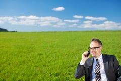 Επιχειρηματίας που μιλά σε κινητό του στη φύση Στοκ Εικόνα