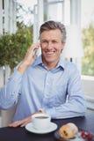 Επιχειρηματίας που μιλά στο κινητό τηλέφωνο στο εστιατόριο Στοκ φωτογραφία με δικαίωμα ελεύθερης χρήσης