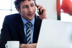 Επιχειρηματίας που μιλά στο τηλέφωνο και που χρησιμοποιεί το lap-top του Στοκ Εικόνες