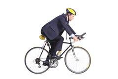 Επιχειρηματίας που οδηγά ένα ποδήλατο Στοκ εικόνες με δικαίωμα ελεύθερης χρήσης
