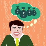 Επιχειρηματίας που ονειρεύεται τα χρήματα Στοκ Φωτογραφίες