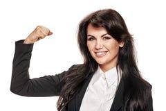 Επιχειρηματίας που παρουσιάζει δικέφαλους μυς Στοκ Εικόνα