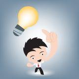 Επιχειρηματίας που παρουσιάζει και που δείχνει στη δημιουργική ιδέα, διάνυσμα απεικόνισης στο επίπεδο σχέδιο Στοκ εικόνες με δικαίωμα ελεύθερης χρήσης