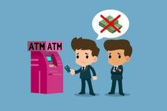Επιχειρηματίας που παρουσιάζει στο λευκόχρυσό του πιστωτική κάρτα μπροστά από τη μηχανή του ATM, οικονομική διανυσματική έννοια τ Στοκ Εικόνα