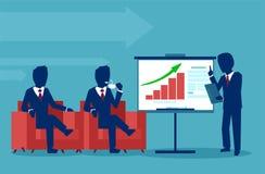 Επιχειρηματίας που παρουσιάζει τα στοιχεία όσον αφορά έναν πίνακα οθόνης παρουσίασης που εξηγεί τα διαγράμματα στα διοικητικά μέλ απεικόνιση αποθεμάτων