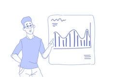 Επιχειρηματίας που παρουσιάζει χρηματοδότησης διαγραμμάτων επιχειρησιακό άτομο έννοιας συμβούλων γραφικών παραστάσεων στο εμπορικ διανυσματική απεικόνιση