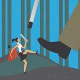 Επιχειρηματίας που παλεύει ενάντια σε έναν γίγαντα ελεύθερη απεικόνιση δικαιώματος