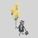 Επιχειρηματίας που περπατά με τις μεγάλες ιδέες του Στοκ Εικόνα