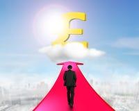 Επιχειρηματίας που περπατά στο βέλος που πηγαίνει προς το σύμβολο λιβρών Στοκ Εικόνες
