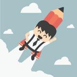 Επιχειρηματίας που πετά με ένα μολύβι πυραύλων Στοκ Εικόνες