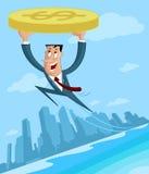 Επιχειρηματίας που πετά με το δολάριο ελεύθερη απεικόνιση δικαιώματος
