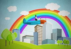 Επιχειρηματίας που πετά στο μικρό αεροπλάνο προωστήρων στοκ φωτογραφίες
