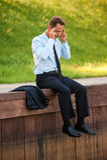 επιχειρηματίας που πιέζ&epsilon Στοκ Φωτογραφία