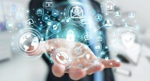 Επιχειρηματίας που προστατεύει το τρισδιάστατο renderin προσωπικής πληροφορίας στοιχείων του Στοκ Εικόνες