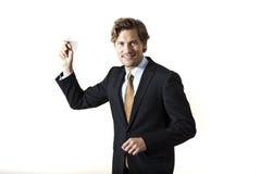 Επιχειρηματίας που ρίχνει το αεροπλάνο εγγράφου σε σας Στοκ Εικόνα