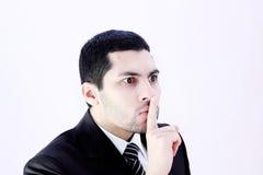 0 επιχειρηματίας που ρωτά τη σιωπή Στοκ Εικόνες