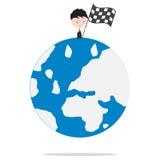 Επιχειρηματίας που στέκεται και που κρατά τη σημαία νικητών πάνω από την αγορά ή το καλύτερο του κόσμου, έννοια επιχειρησιακής αύ Στοκ Εικόνα