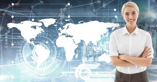 Επιχειρηματίας που στέκεται με τα όπλα που διασχίζονται στο ψηφιακά παραγμένο κλίμα διανυσματική απεικόνιση