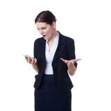 επιχειρηματίας που στέκεται πέρα από απομονωμένο το λευκό υπόβαθροη Στοκ Εικόνα