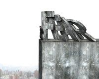 Επιχειρηματίας που σταματά το ντόμινο της κόκκινης πτώσης λέξης φόβου Στοκ Φωτογραφίες