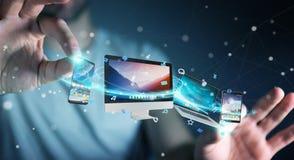Επιχειρηματίας που συνδέει τις εφαρμογές συσκευών και εικονιδίων τεχνολογίας τρισδιάστατες σχετικά με Στοκ Φωτογραφία