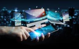Επιχειρηματίας που συνδέει τις εφαρμογές συσκευών και εικονιδίων τεχνολογίας τρισδιάστατες σχετικά με Στοκ φωτογραφίες με δικαίωμα ελεύθερης χρήσης