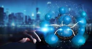 Επιχειρηματίας που συνδέει την μπλε τρισδιάστατη απόδοση δικτύων εικονιδίων κοινωνική Στοκ φωτογραφία με δικαίωμα ελεύθερης χρήσης