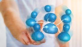Επιχειρηματίας που συνδέει την μπλε τρισδιάστατη απόδοση δικτύων εικονιδίων κοινωνική Στοκ Φωτογραφία