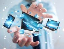 Επιχειρηματίας που συνδέει τις εφαρμογές συσκευών και εικονιδίων τεχνολογίας τρισδιάστατες σχετικά με Στοκ Εικόνα