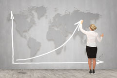 Επιχειρηματίας που σύρει ένα βέλος αύξησης, που αντιπροσωπεύει την επιχειρησιακή αύξηση Στοκ Εικόνες