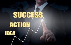 Επιχειρηματίας που σύρει την έννοια της ανάπτυξης επιχείρησης από την ιδέα στην επιτυχία Στατιστικές αύξησης Στοκ φωτογραφίες με δικαίωμα ελεύθερης χρήσης