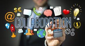 Επιχειρηματίας που σύρει τη hand-drawn παρουσίαση συνεργασίας Στοκ Εικόνα