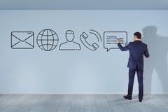 Επιχειρηματίας που σύρει το λεπτό εικονίδιο επαφών γραμμών διανυσματική απεικόνιση