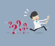 Επιχειρηματίας που τρέχει μακρυά από το πρόβλημα απεικόνιση αποθεμάτων