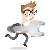 Επιχειρηματίας που τρέχει με το γαλλικό κλειδί Στοκ φωτογραφία με δικαίωμα ελεύθερης χρήσης