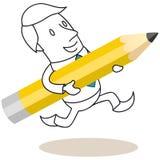 Επιχειρηματίας που τρέχει με το μολύβι Στοκ Εικόνες