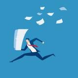 Επιχειρηματίας που τρέχει με το σωρό της γραφικής εργασίας υπό εξέταση Χρονική πίεση, πίεση, καταπονημένη και έννοια προθεσμίας διανυσματική απεικόνιση