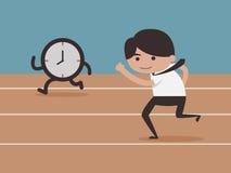 Επιχειρηματίας που τρέχει με το χρόνο Στοκ Φωτογραφίες