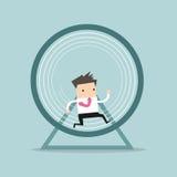 Επιχειρηματίας που τρέχει σε μια ρόδα χάμστερ ελεύθερη απεικόνιση δικαιώματος