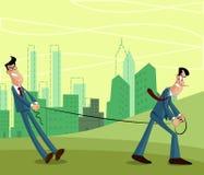 Επιχειρηματίας που τραβά άλλο άτομο διανυσματική απεικόνιση