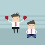 Επιχειρηματίας που φορά τα εγκιβωτίζοντας γάντια που στέκονται στο εγκιβωτίζοντας δαχτυλίδι ως νικητής διανυσματική απεικόνιση