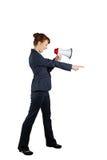 επιχειρηματίας που φωνάζει μέσω megaphone και της υπόδειξηση Στοκ φωτογραφία με δικαίωμα ελεύθερης χρήσης