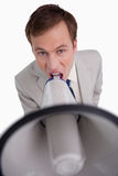 Επιχειρηματίας που φωνάζει μέσω megaphone Στοκ εικόνα με δικαίωμα ελεύθερης χρήσης