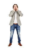 Επιχειρηματίας που φωνάζει με τα ανοικτά χέρια Συγκινήσεις, έκφραση του προσώπου Στοκ φωτογραφία με δικαίωμα ελεύθερης χρήσης