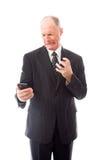 0 επιχειρηματίας που φωνάζει σε ένα κινητό τηλέφωνο Στοκ Εικόνες