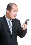 0 επιχειρηματίας που φωνάζει σε κινητό Στοκ Εικόνες