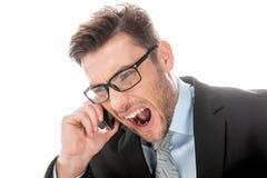 0 επιχειρηματίας που φωνάζει στο κινητό τηλέφωνο στο λευκό Στοκ φωτογραφίες με δικαίωμα ελεύθερης χρήσης
