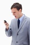 Επιχειρηματίας που φωνάζει στο κινητό τηλέφωνο του Στοκ εικόνα με δικαίωμα ελεύθερης χρήσης